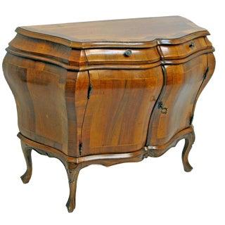 Rococo-Style Walnut & Mahogany Bombe Commode