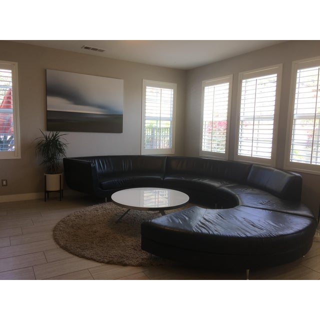 American Leather Black Leather Sectional - Image 9 of 11