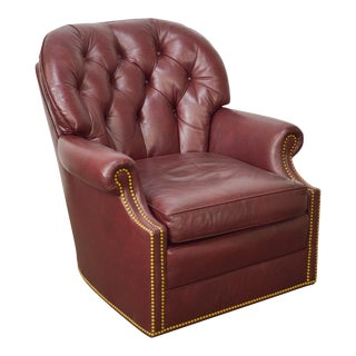 Hancock & Moore Oxblood Red Leather Tufted Club Chair