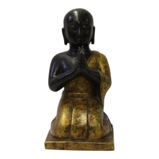 Chinese Metal Rustic Golden Bronze Color Kneeling Lohon Monk Figure