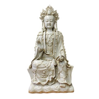 Chinese Tong Style Porcelain Kwan Yin Tara Bodhisattva Statue