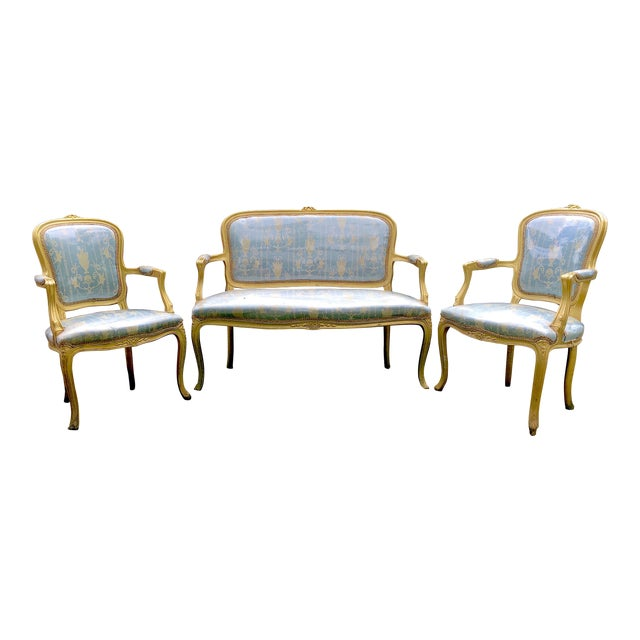Gold Gilt Italian Louis XVI Settee & Chairs - Set of 3 - Image 1 of 9