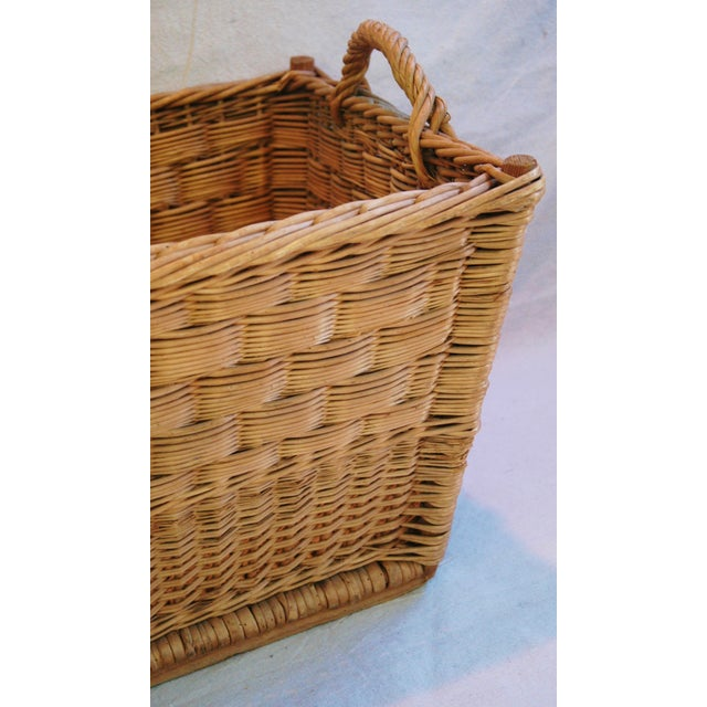 Vintage French Woven Willow Market Basket - Image 3 of 8