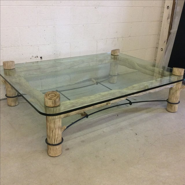 Image of Faux Bois Iron & Glass Coffee Table