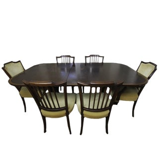 Duncan Phyfe Federal Style Mahogany Formal Dining Set with 6 Chairs & 3 Leaves