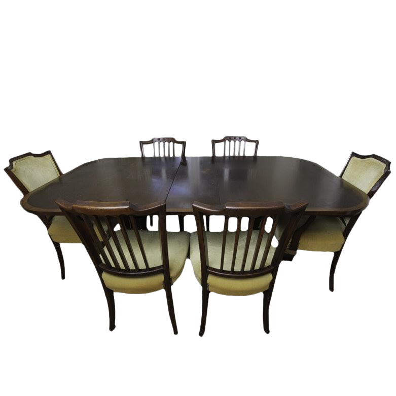 Duncan Phyfe Federal Style Mahogany Formal Dining Set With 6 Chairs U0026 3  Leaves