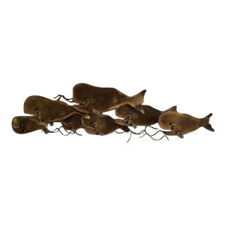 Mid-Century Jere Style Copper Metal Whale Sculpture