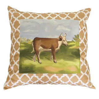 Hand Painted Cow Pillow