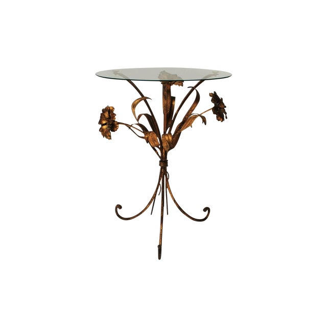 Image of Italian Gilded Tole Floral Side Table
