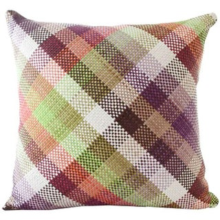 Lance Wovens Harlequin Lime Leather Pillow