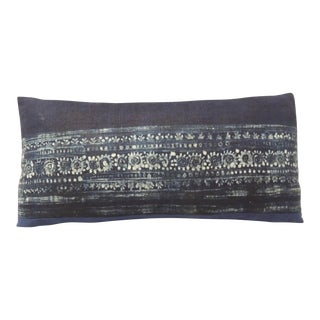 Vintage Asian Hand-blocked Indigo Lumbar Linen Decorative Pillow