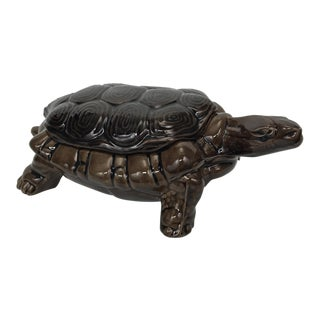 Hand Cast Ceramic Turtle Box
