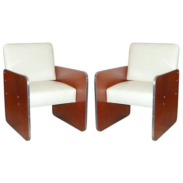 Image of Art Deco White Leather & Wood Chairs - A Pair