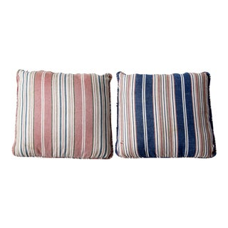 Vintage Striped Pillow Covers - A Pair