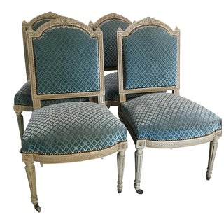 Louis XVI Velvet Chairs - Set of 4