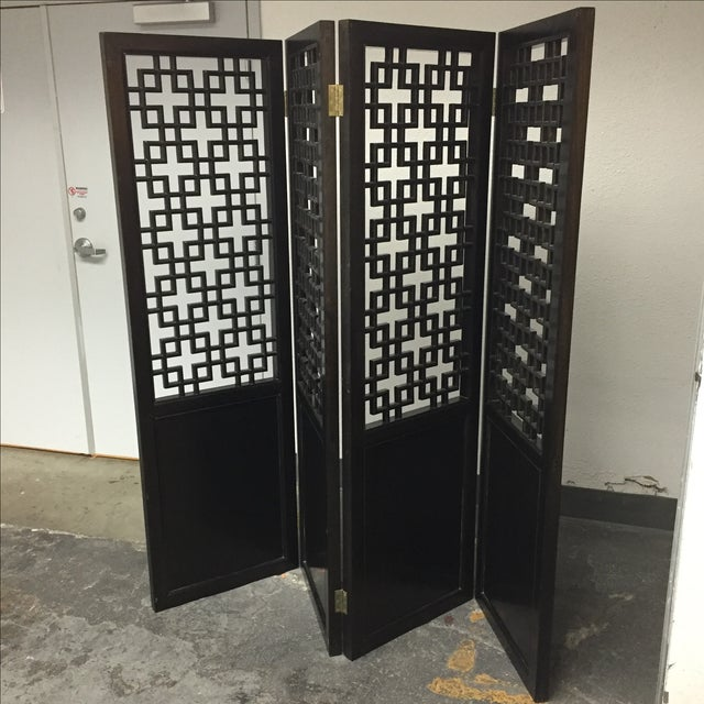 Custom Made Four Panel Wooden Screen - Image 8 of 11