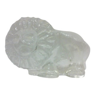 Mid Century Glass Lion Figure