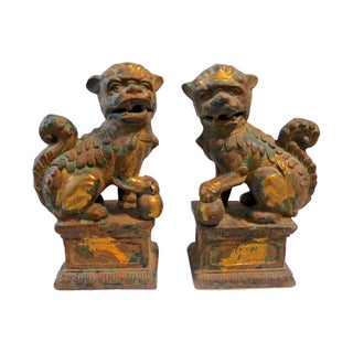 Heavy Cast Iron Foo Dogs - A Pair