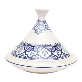 Moroccan Hand Painted Medium Blue Ceramic Tajine