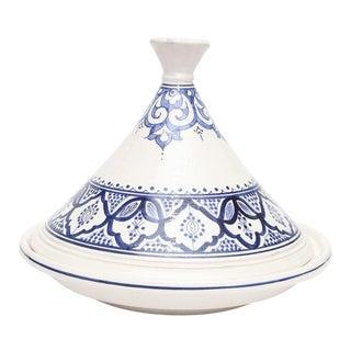 Moroccan Hand Painted Medium Blue Ceramic Tajine