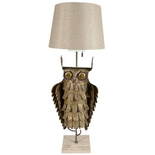 ABSTRACT BRUTALIST OWL TABLE LAMP BY CURTIS JERE