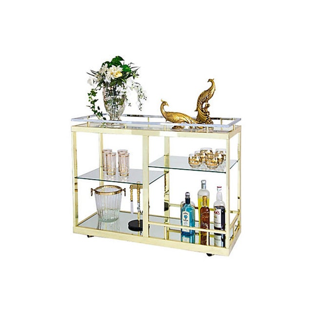 Brass & Chrome Cocktail Trolly - Image 8 of 9