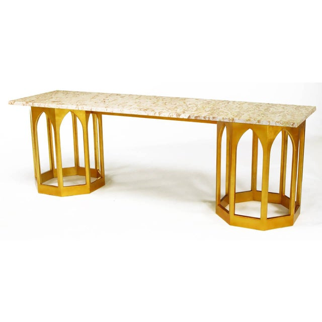 Image of Marble Top Console Table with Twin Gilt Octagonal Bases