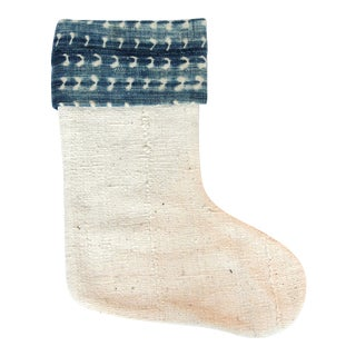 Vintage Indigo and Mudcloth Christmas Stocking