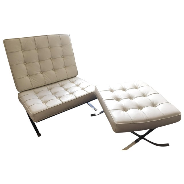 Mid-Century Leather Barcelona Chair And Foot Stool - Image 1 of 7