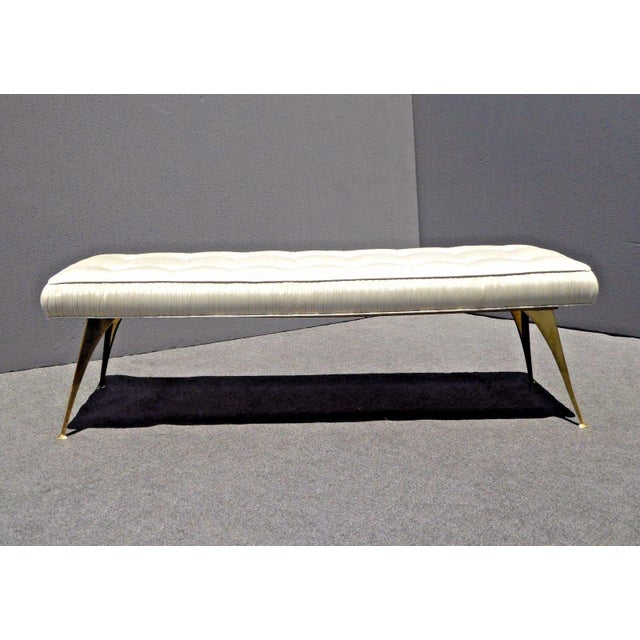 Jonathan Adler Mid-Century Modern Style Bench with Brass Legs - Image 3 of 11