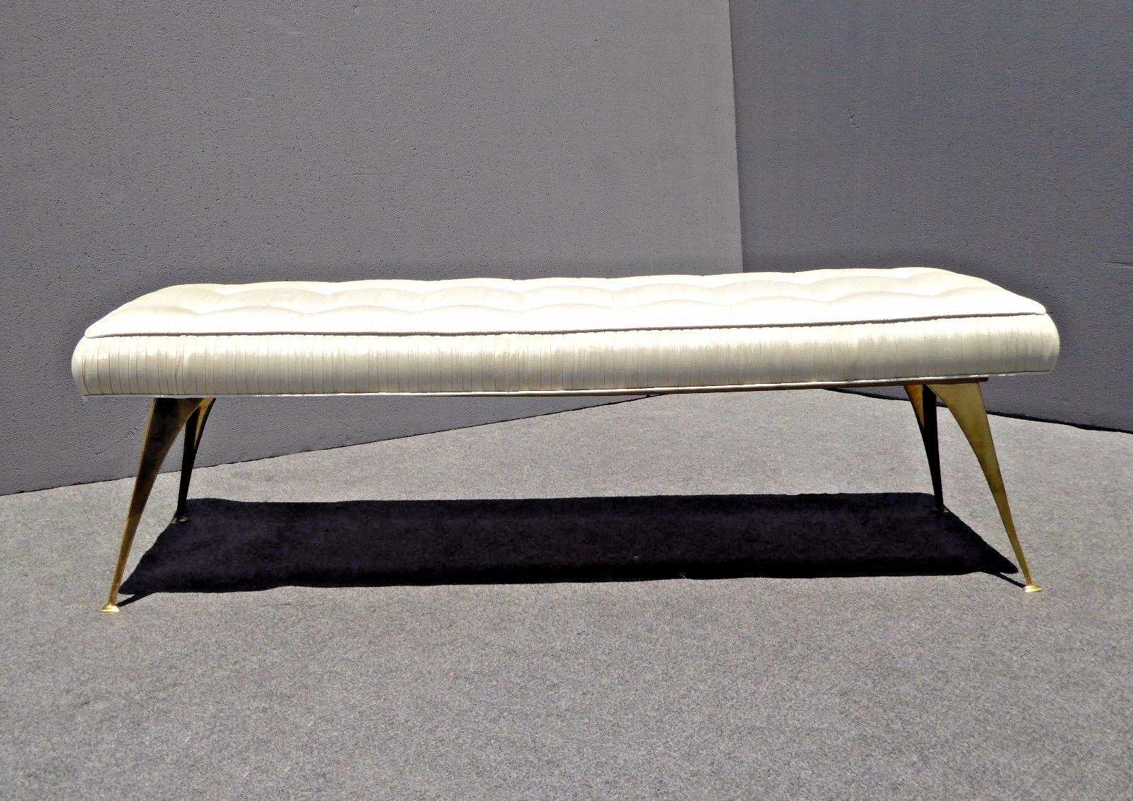 Jonathan Adler Mid Century Modern Style Bench With Brass
