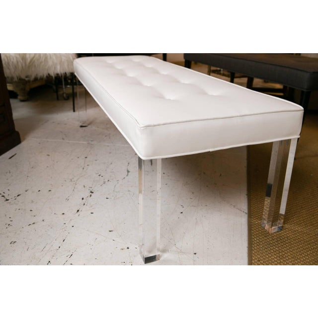 Mid-Century Lucite Tufted White Vinyl Bench - Image 4 of 7