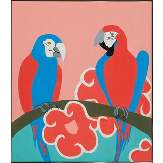 """""""Pair of Palm Beach Parrots C1960s Acrylic on Canvas by a 'Society' Artist """""""