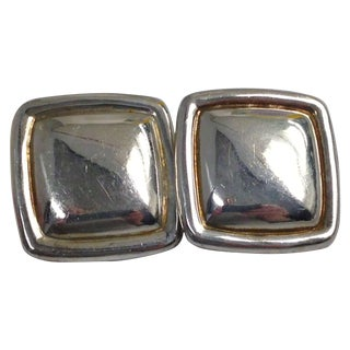 Large Taxco Mexico Sterling Silver Clip Earrings