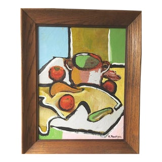 Listed R. Monticolo Vintage Mid Century Modern Abstract Still Life Oil Painting