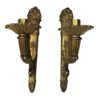 19th C. Cast Bronze French Candle Holders - A Pair