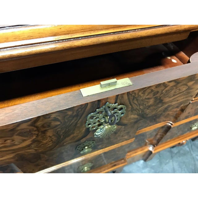 Early 20th Century Burl Walnut Block Front Bachelor Chest of Drawers - Image 10 of 11
