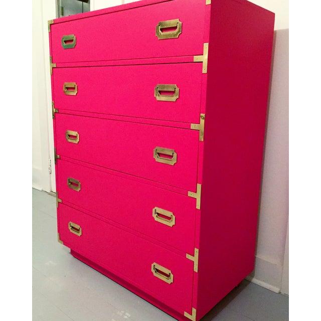 Hot Pink Vintage Dixie Highboy Campaign Dresser - Image 3 of 8