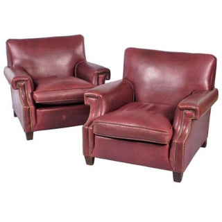 Vintage French Leather Armchairs - Pair