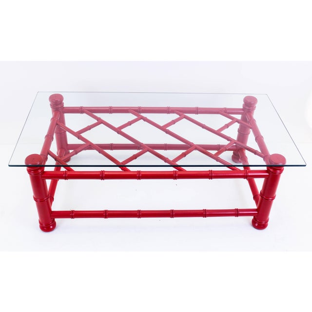 Palm Beach Style Coral Red Coffee Table - Image 2 of 9
