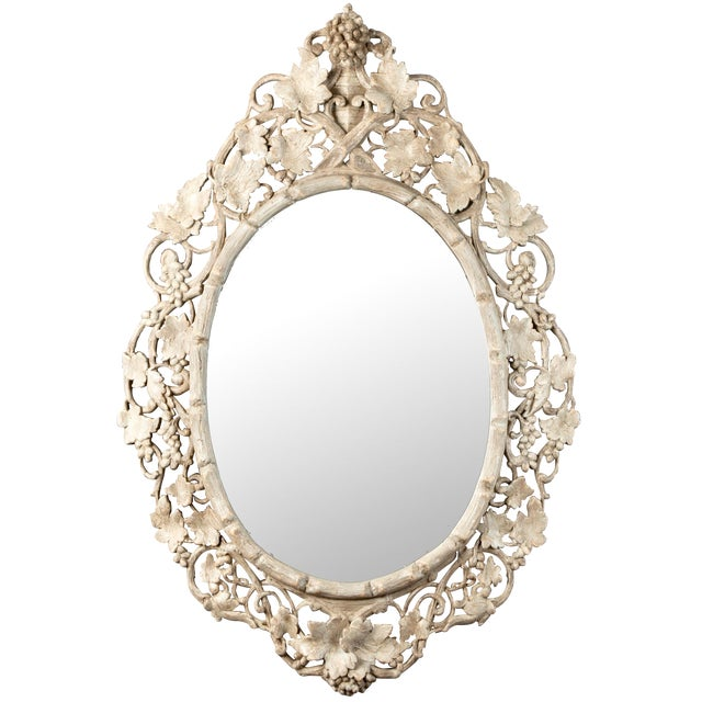 Large 1930's French Beveled Oval Mirror With Carved Grape Vines - Image 1 of 7