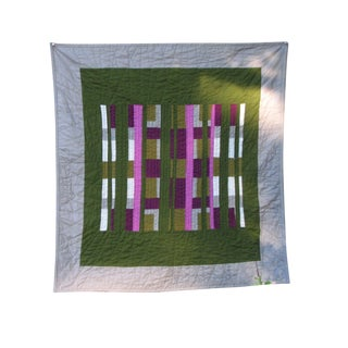 """Green Screen"" Modern Art Quilt Wall Hanging"