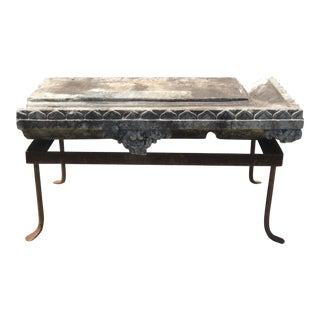 Vintage Stone Pediment Bench