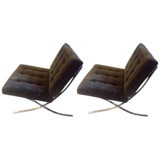 Brown Mohair Barcelona Style Chairs - A Pair