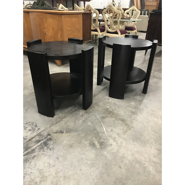 French Art Deco Solid Ebonized Cerused Oak Coffee Tables - A Pair - Image 8 of 11
