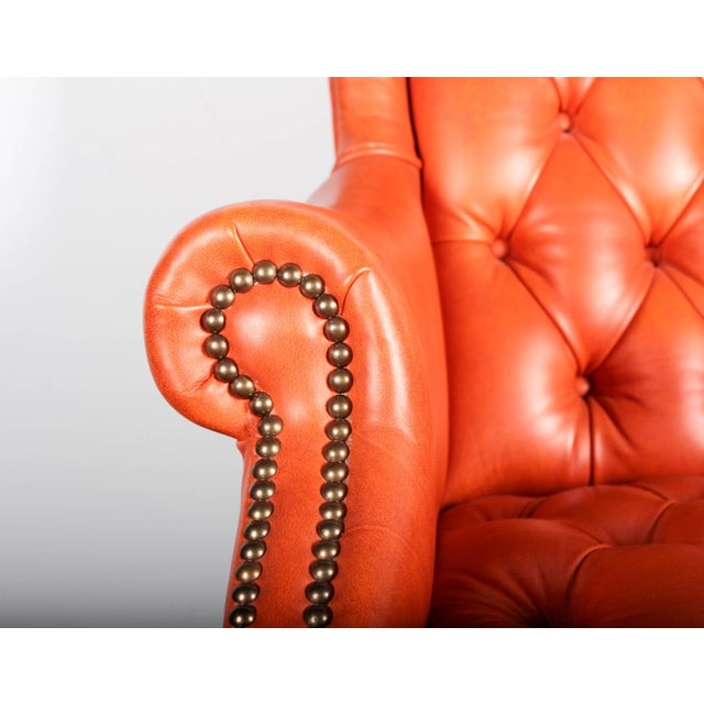 Orange Tufted Leather Queen Anne Mahogany Armchair - Image 6 of 11