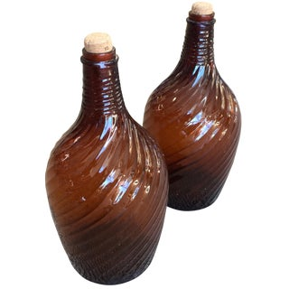 Owens Illinois Amber Glass Bottles - A Pair