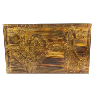 LARGE ACID-ETCHED AND OXIDIZED BRASS PANEL BY BERNHARD ROHNE