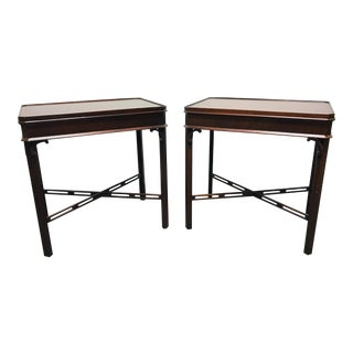 WELLINGTON HALL Mahogany Chippendale Side End Tables - Pair
