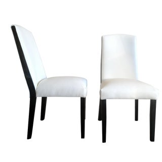 Gambrell Renard White Leather Dining Chairs - A Pair